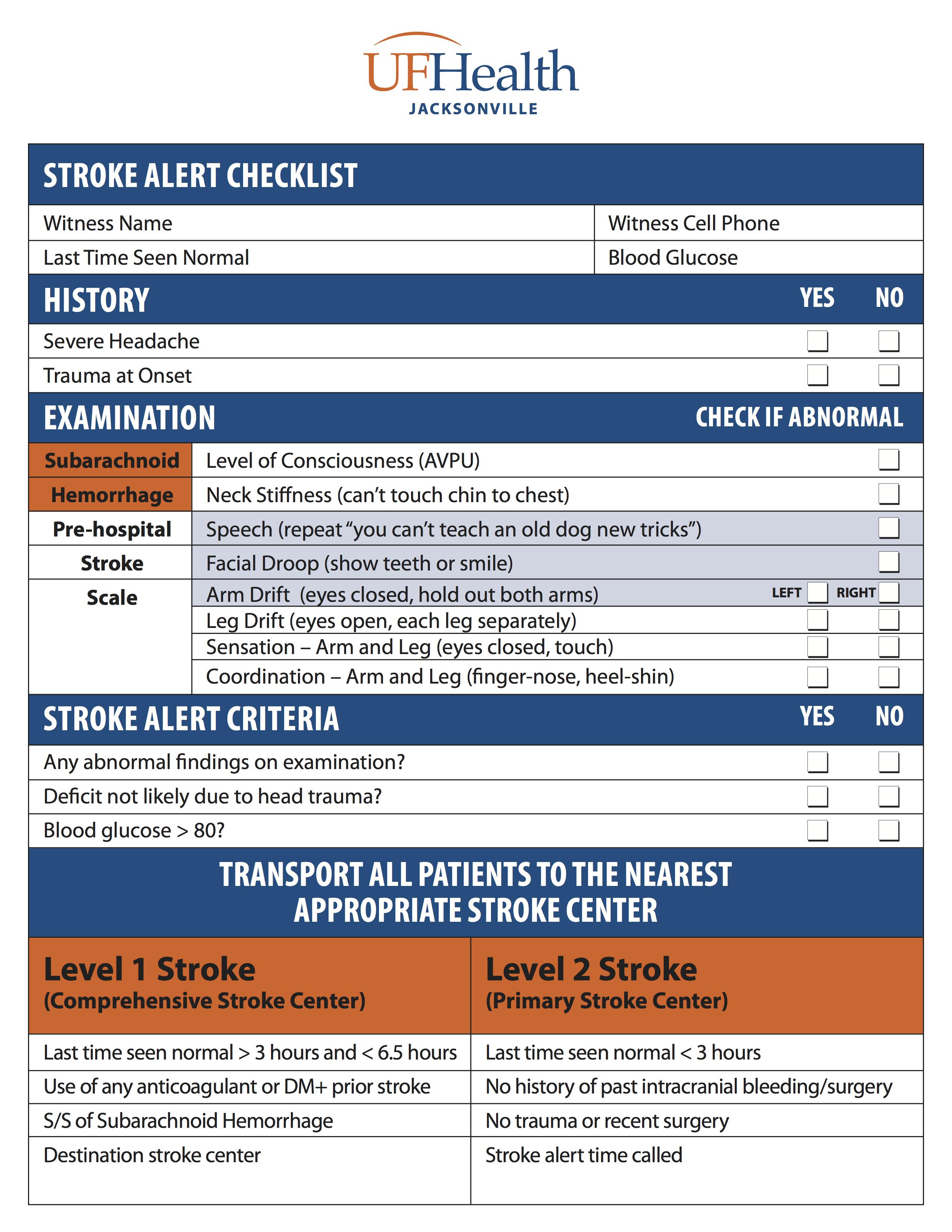 Stroke Alert Checklist
